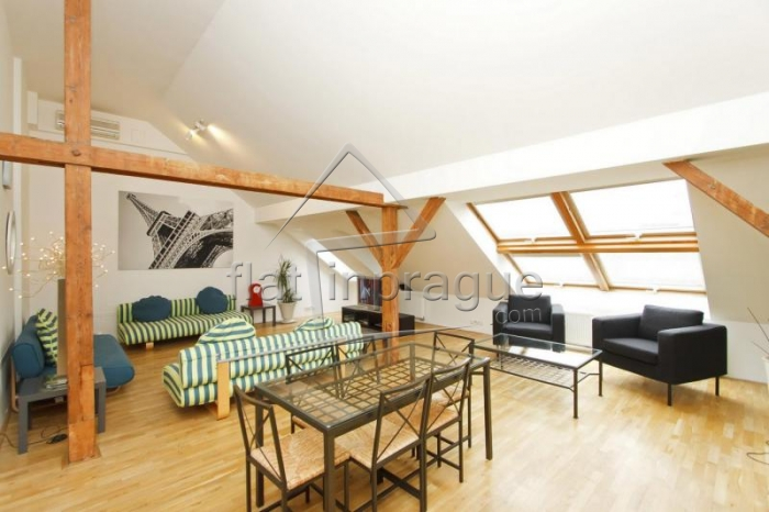 Large and stylish top floor apartment in Prague 1
