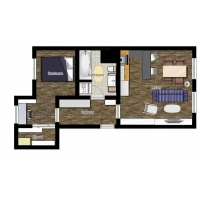 Modern one bedroom apartment for 2 people